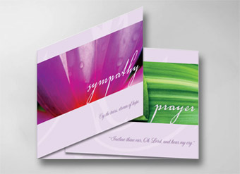 Thoughtful and comforting tri-fold cards that convey your sympathies and provide for customization.